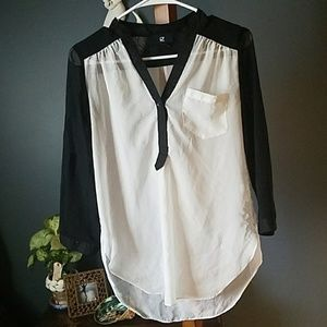 Sheer color blocked over shirt Small